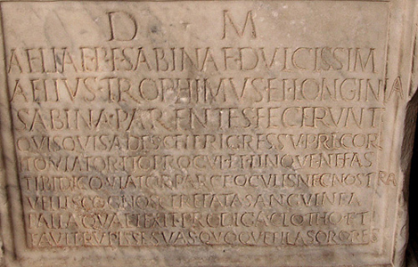 Aelia Sabina inscription front