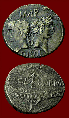 dupondius from Nemausus with Augustus and Agrippa