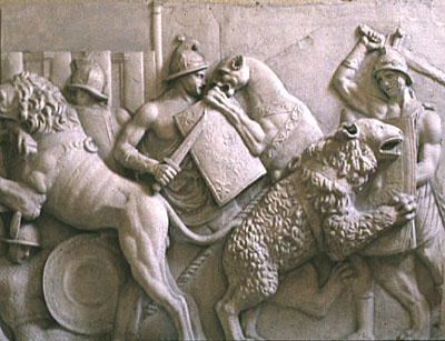 Relief depicting gladiators (bestiarii) fighting animals in the arena (cast).