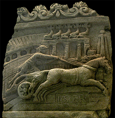 chariot, dolphins, turning post