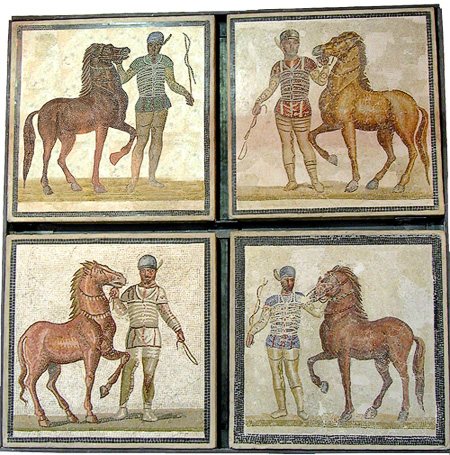 mosaic of charioteers from 4 factions