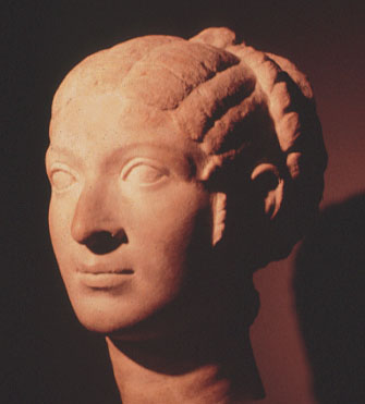portrait bust of Levantine woman with hairstyle