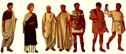 citizen,matron, curule magistrate, emperor, general, workman, slave