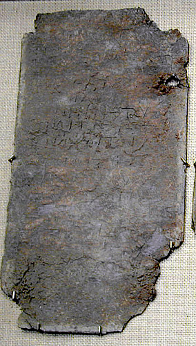 Defixionumtabellaezaubersprachecoursetablets this lead tablet naming more than 12 people was hinged and fastened it was found in a pot with bones fandeluxe Choice Image