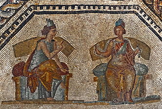 mosaic of women conversing