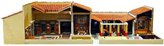 cutaway model of Roman townhouse