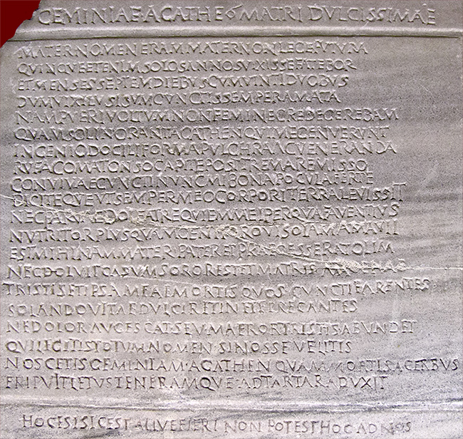 Geminia Agathe inscription