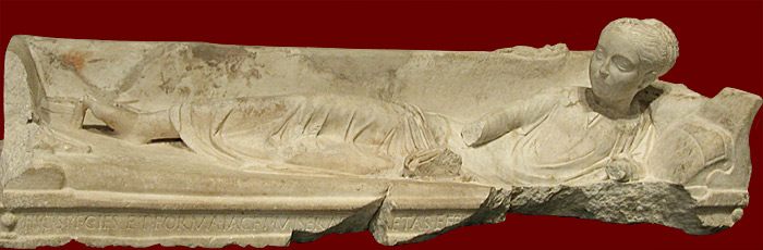 sarcophagus of young girl at Getty Villa