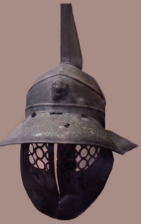 Ancient bronze gladiator's helmet first century CE.