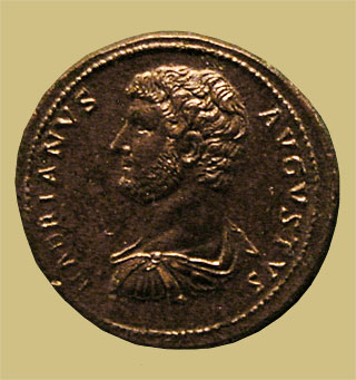 Bronze sestertius with portrait of Hadrian, 117-138 CE.