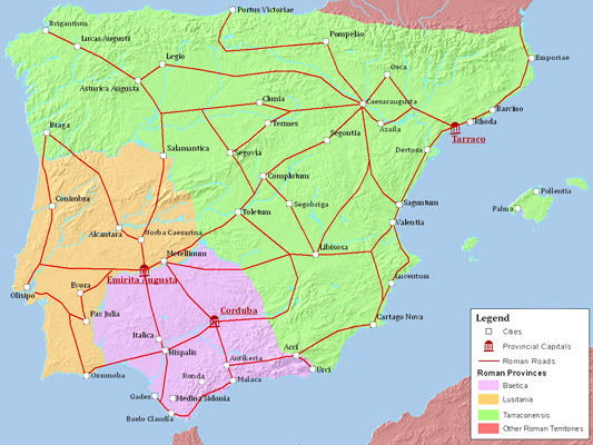 map of Roman Hispania