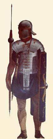 Drawing of a legionary soldier from the early imperial period, with javelin, sword belt on the right, and lorica segmentata modern.
