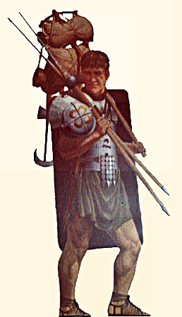 Drawing of a legionary soldier on the march, carrying his weapons and other gear modern.