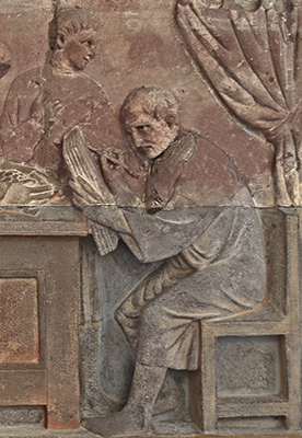 relief detail, man writing on tablets; third century CE