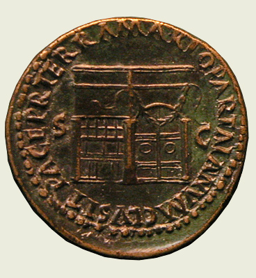 Coin of Nero showing Janus Shrine, 66 CE