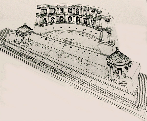 reconstruction drawing of the nymphaeum of Regilla at Olympia