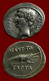 coin of Octavian with captured Egypt