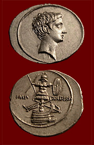 coin of Octavian with trophy