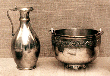 Ancient Roman Silver Pitcher and Silver Bowl.