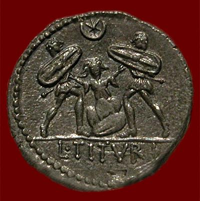 coin depicting Tarpeia