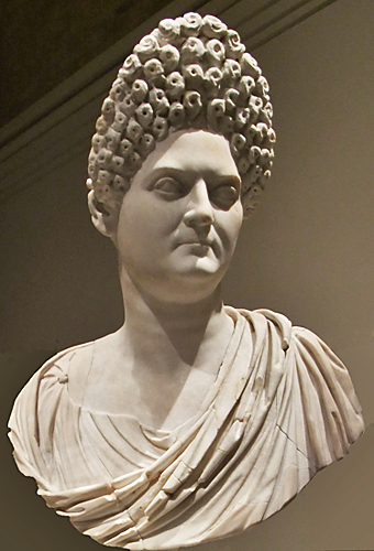 ... Portrait bust of a mature aristocratic woman in marble, possibly Domitia ...