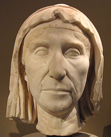 Veiled portrait head in marble of a mature woman (matrona or Vestal?