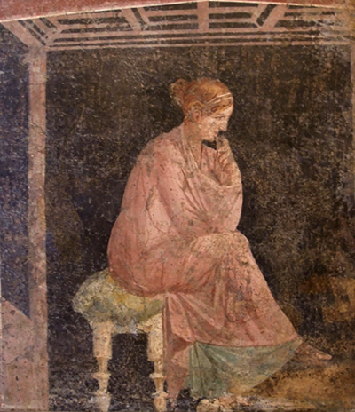 fresco of a woman seated
