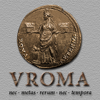 VRoma logo, city goddess coin